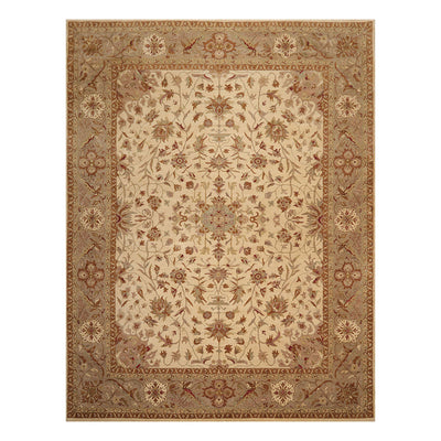 9' 2''x11' 11'' Beige Gray Brown Color Hand Knotted Persian 100% Wool Traditional Oriental Rug