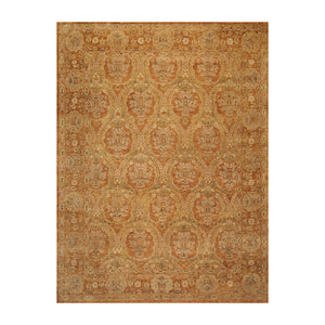 8' 11''x11' 9'' Gold Sage Beige Color Hand Knotted Persian 100% Wool Transitional Oriental Rug