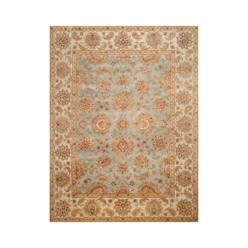 9' 1''x12'  Aqua Beige Gold Color Hand Knotted Persian 100% Wool Traditional Oriental Rug