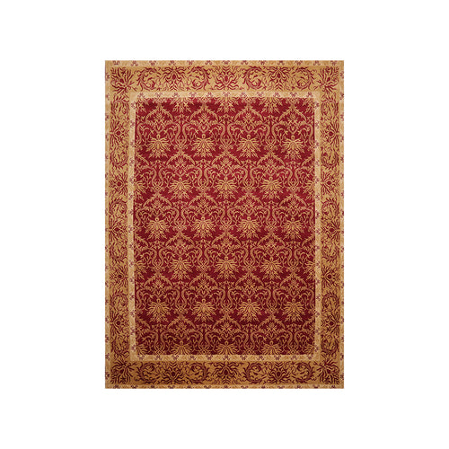 8' x10'  Red Gold Beige Color Hand Knotted Tibetan 100% Wool Transitional Oriental Rug