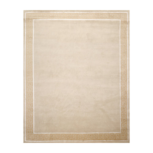 8' x10'  Beige Tan Color Hand Knotted Tibetan Wool and Silk Traditional Oriental Rug