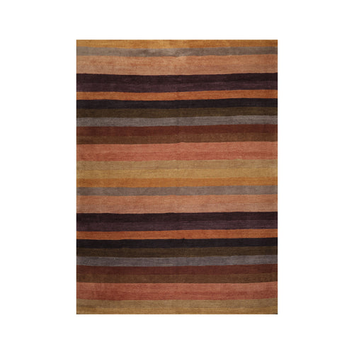 9' x12'  Brown Gold Aubergine Color Hand Knotted Tibetan 100% Wool Modern & Contemporary Oriental Rug