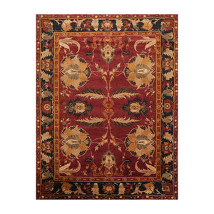 8' 9''x11' 5'' Wine  Charcoal Brown Color Hand Knotted  100% Wool Traditional Oriental Rug