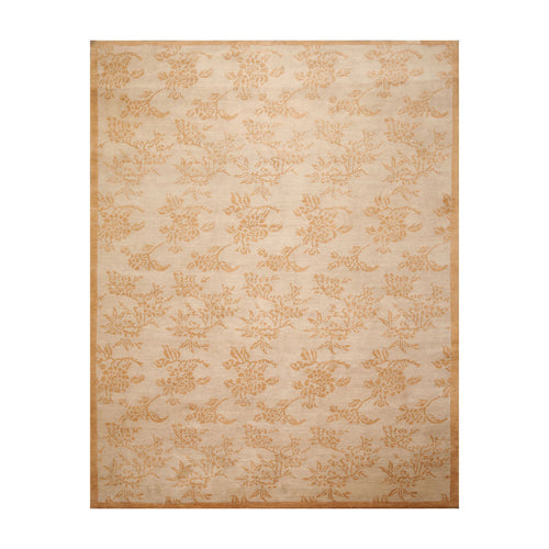 8' 1''x10' 5'' Taupe Caramel Color Hand Knotted Tibetan 100% Wool Transitional Oriental Rug