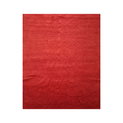 8' x9' 10'' Tone On Tone Red Color Hand Knotted Tibetan Wool and Silk Modern & Contemporary Oriental Rug