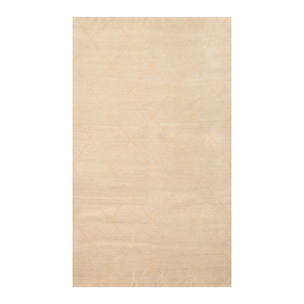 4' x5' 11'' Beige Tan Color Hand Knotted Tibetan 100% Wool Modern & Contemporary Oriental Rug