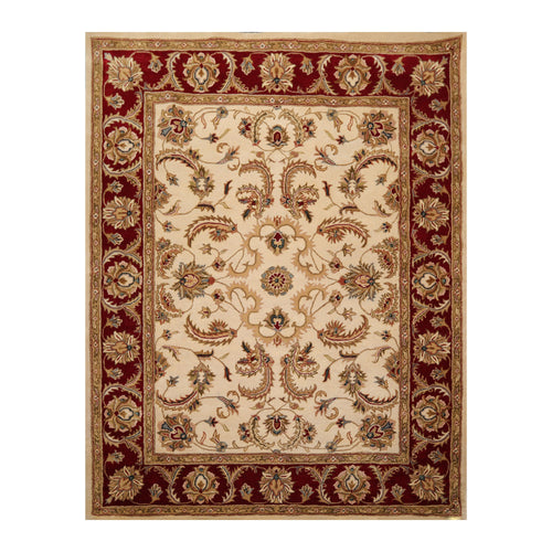8' x10'  Beige Burgundy Tan Color Hand Tufted Hand Made 100% Wool Traditional Oriental Rug