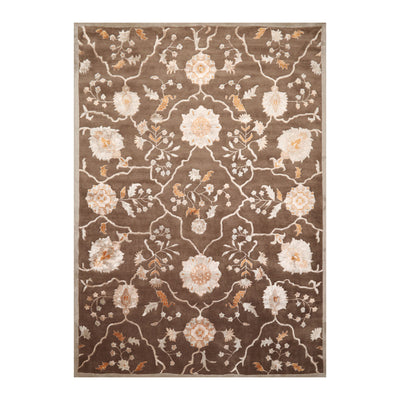 8' x11'  Brown Gray Caramel Color Hand Tufted Hand Made Wool & Art Silk Transitional Oriental Rug