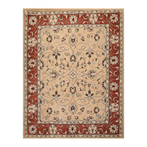 8' x10'  Camel Rust Aqua Color Hand Tufted Hand Made 100% Wool Traditional Oriental Rug