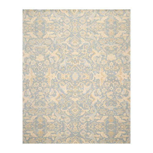 7' 9''x9' 9'' Aqua Beige Gray Color Hand Tufted Hand Made 100% Wool Transitional Oriental Rug