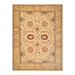 9' x12'  Beige Tan Caramel Color Hand Knotted Persian 100% Wool Traditional Oriental Rug