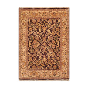 5' 8''x7' 10'' Chocolate Gold Green Color Hand Knotted Persian 100% Wool Traditional Oriental Rug