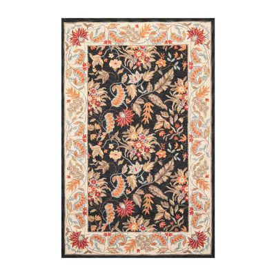 5' 3''x8' 3'' Charcoal Cream Brown Color Hand Made Hand Hooked 100% Wool Traditional Oriental Rug