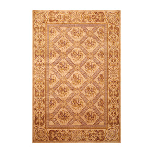 5' 10''x8' 6'' Caramel Gold Brown Color Hand Knotted Hand Made 100% Wool Traditional Oriental Rug