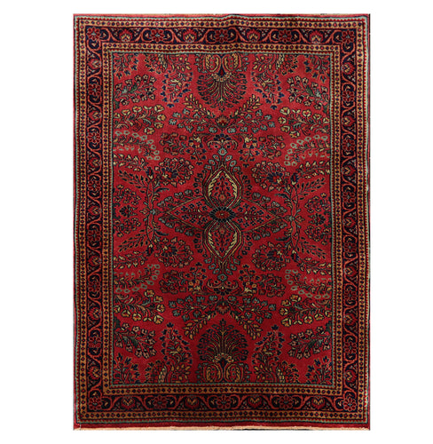 3' 1''x4' 9'' Rose Midnight Blue  Beige Color Hand Knotted Persian 100% Wool Traditional Oriental Rug