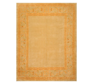 8' 10''x11' 10'' Beige Peach Gold Color Hand Knotted Tibetan 100% Wool Traditional Oriental Rug