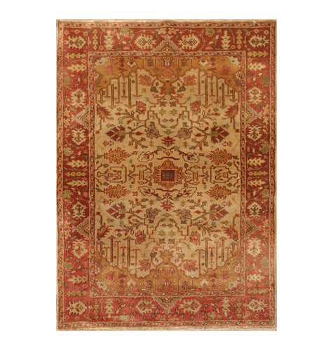3' 9''x5' 9'' Beige Rust Gold Color Hand Knotted Persian 100% Wool Traditional Oriental Rug