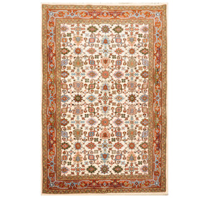 4' x6'  Cream Burnt Orange Sage Color Hand Knotted Persian 100% Wool Traditional Oriental Rug