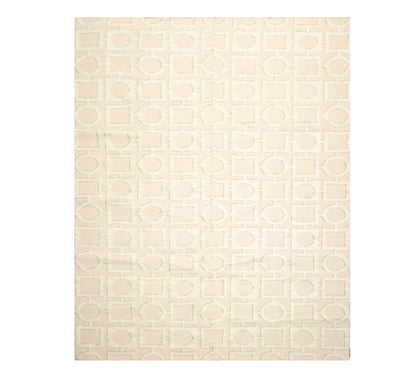 7' 11''x9' 11'' Beige Sea Foam Tan Color Hand Knotted Tibetan Cotton & Silk Modern & Contemporary Oriental Rug