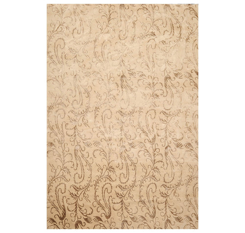6' x8' 8'' Beige Brown Color Hand Knotted Tibetan Wool and Silk Transitional Oriental Rug