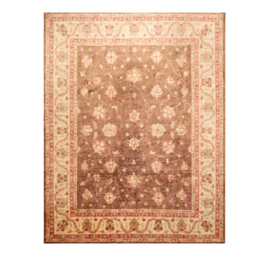 7' 11''x9' 5'' Brown Beige Coral Color Hand Knotted Persian 100% Wool Traditional Oriental Rug