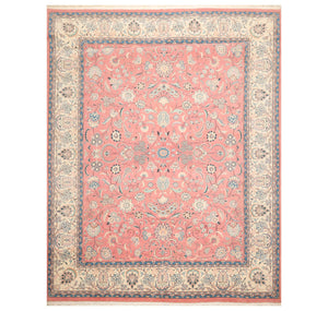 8' 1''x10' 3'' Pale Pink Cream Blue Color Hand Knotted Persian 100% Wool Traditional Oriental Rug