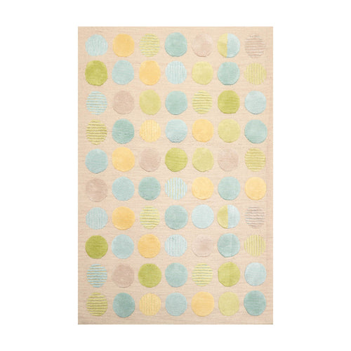 4' 7''x6' 6'' Taupe Lime Aqua Color Hand Tufted Hand Made 100% Wool Modern & Contemporary Oriental Rug