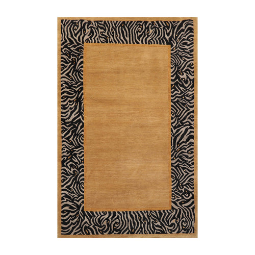 4' x5' 9'' Brown Gold Black Color Hand Knotted Tibetan Wool and Silk Modern & Contemporary Oriental Rug