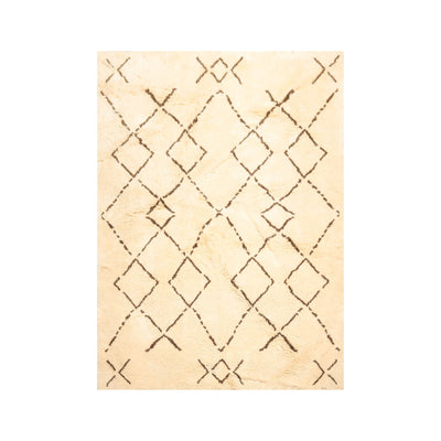 6' 6''x8' 1'' Ivory Brown Color Hand Knotted Shag 100% Wool Traditional Oriental Rug