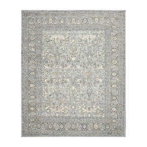 6' x6'  Light Blue Gray Ivory Color Hand Tufted Hand Made 100% Wool Transitional Oriental Rug