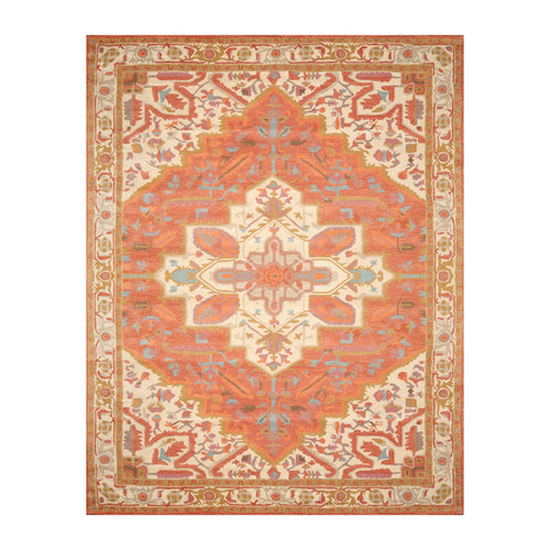 6' x6'  Burnt Orange Beige Ivory Color Hand Tufted Hand Made 100% Wool Traditional Oriental Rug