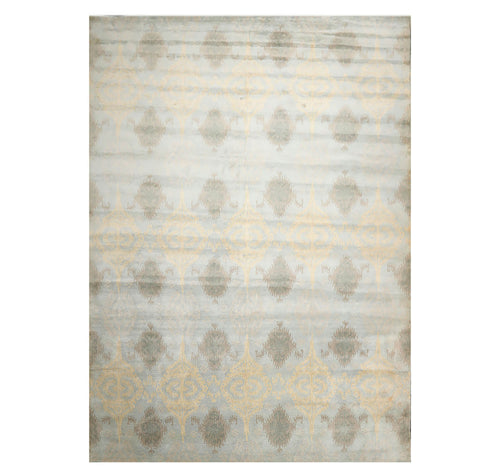 9' 4''x13' 3'' Light Blue Brown Taupe Color Hand Tufted Hand Made 100% Wool Modern & Contemporary Oriental Rug