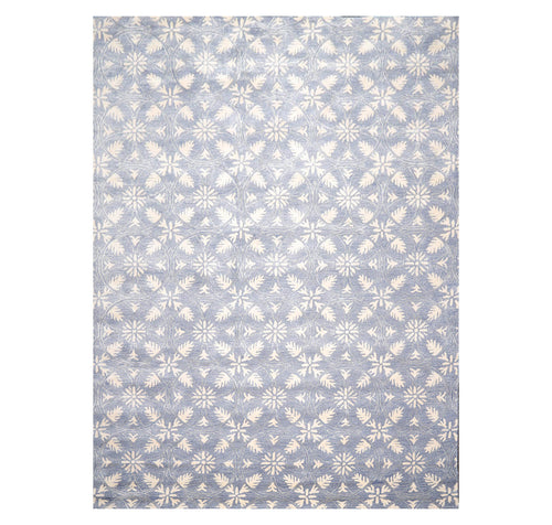 9' 6''x12' 5'' Blue Ivory Gray Color Hand Tufted Hand Made Wool & Art Silk Transitional Oriental Rug
