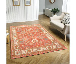 7' 9''x9' 9'' Orange Beige Gold Color Hand Tufted Hand Made 100% Wool Traditional Oriental Rug