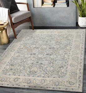 7' 9''x9' 9'' Gray Ivory Taupe Color Hand Tufted Hand Made 100% Wool Transitional Oriental Rug