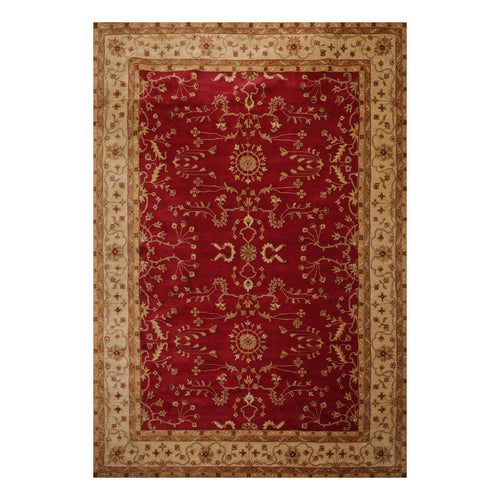9' 6''x13' 6'' Red Gold Sage Color Hand Tufted Hand Made 100% Wool Transitional Oriental Rug