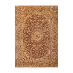 7' 11''x11' 11'' Brown Tan Gray Color Hand Knotted Persian Wool and Silk Traditional Oriental Rug