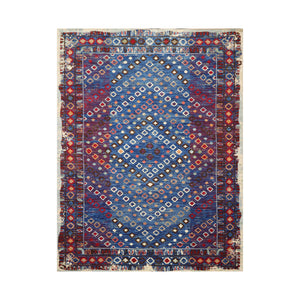 8' x11'  Blue Red Ivory Color Machine Made Persian 100% Wool Traditional Oriental Rug