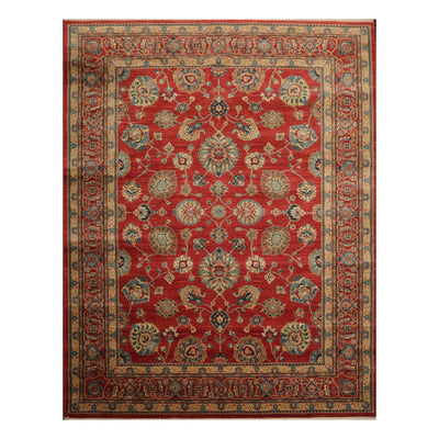 8' x12'  Burnt Orange Light Gold Aqua Color Machine Made Persian 100% Wool Traditional Oriental Rug