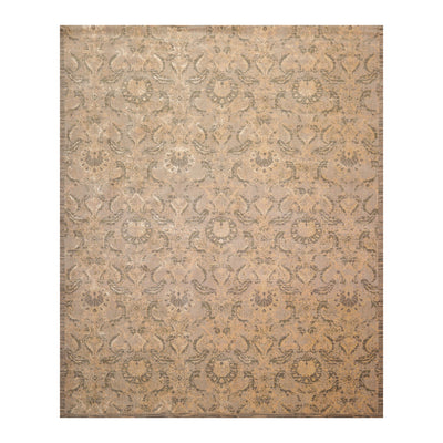 7' x9' 10'' Gray Beige Tan Color Machine Made Persian Wool and Bamboo Damask Oriental Rug