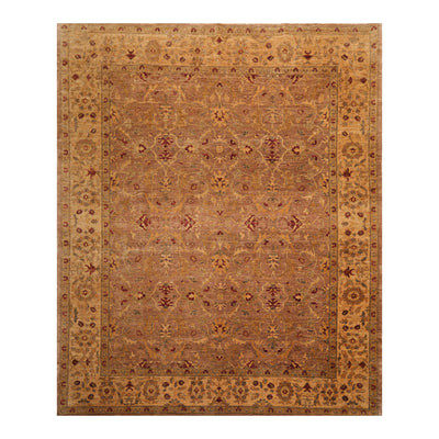 8' x9' 11'' Taupe Tan Gold Color Hand Knotted Persian 100% Wool Traditional Oriental Rug