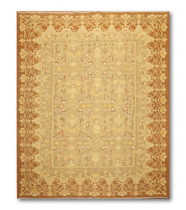 "6'10""x'9'6"" Gold, Brown Tone on Tone Color Hand Knotted Reversible Soumac Oriental Rug"