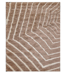 "6'  07""x9'  Brown White Color Machine Made Shag Polypropylene Modern & Contemporary Oriental Rug"