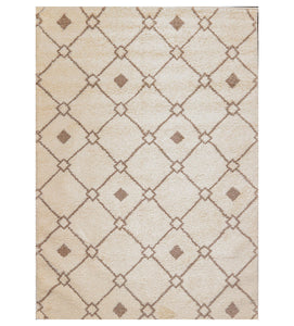 "6'  07""x9'  Ivory Brown Color Machine Made Shag Polypropylene Modern & Contemporary Oriental Rug"
