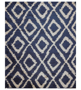 "6'  07""x9'  Navy Cream Color Machine Made Shag Polypropylene Modern & Contemporary Oriental Rug"