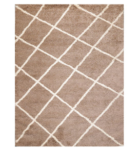 "6'  07""x9'  Brown Ivory Color Machine Made Shag Polypropylene Modern & Contemporary Oriental Rug"