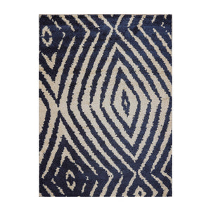 "6'  07""x9'  Beige Navy Color Machine Made Shag Polypropylene Modern & Contemporary Oriental Rug"