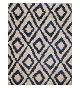 "6'  07""x9'  Ivory Midnight Blue  Color Machine Made Shag Polypropylene Modern & Contemporary Oriental Rug"