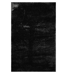 5' x7'  Black Silver Color Machine Made Shag Polypropylene solid Oriental Rug