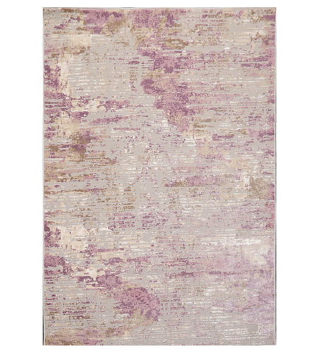 5' x7'  Gray Tone On Tone Silver Gray Mauve Color Machine Made Persian Polypropylene Abstract Oriental Rug
